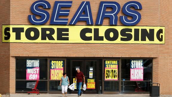Store closing sale advertising at a Sears department store in Medicine Hat, Alberta on Sept. 13, 2017.