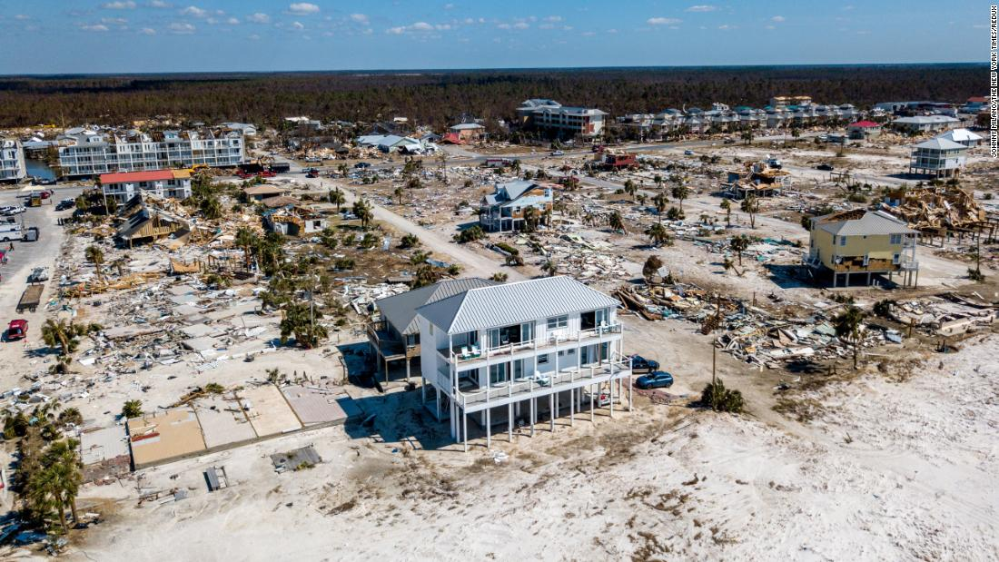 This is one of the few Mexico Beach houses that survived Hurricane Michael