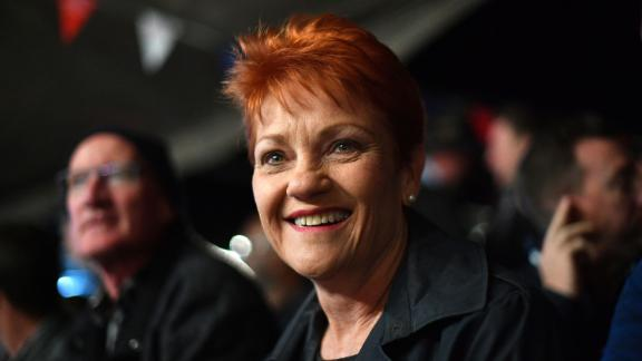 One Nation Senator Pauline Hanson smiles in the Fred Brophy boxing tent at the Birdsville Races in the Queensland town of Birdsville on August 31, 2018. - The annual Birdsville races in Outback Queensland attracts thousands of people to the remote town and is a major source of tourist revenue. (Photo by Saeed KHAN / AFP) / -- IMAGE RESTRICTED TO EDITORIAL USE - STRICTLY NO COMMERCIAL USE --        (Photo credit should read SAEED KHAN/AFP/Getty Images)