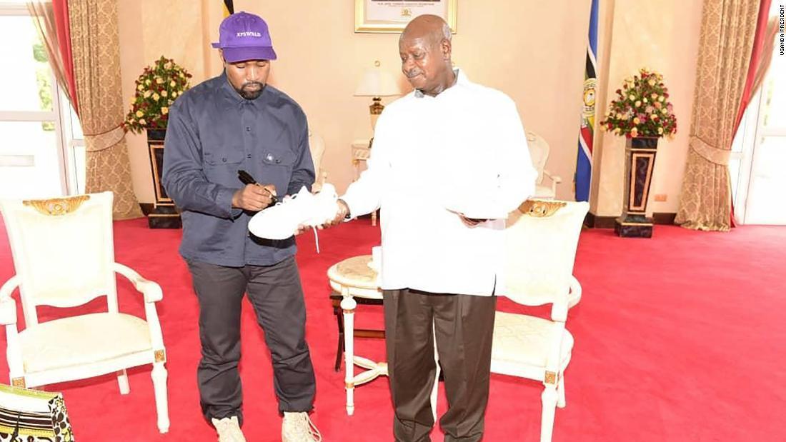 Kanye and Kim meet Ugandan President Museveni
