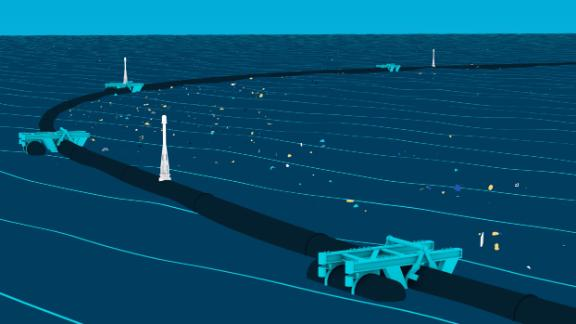The Ocean Cleanup's device floats and sends data back to the company's headquarters from wherever it is in the ocean.