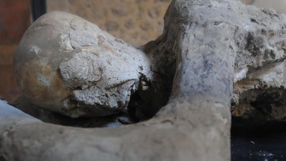 Rising sea levels and increasing erosion, the study said, may endanger historical icons such as this petrified victim of the volcanic eruption of Mont Vesuvius in 79 AD at the archaeological site of Pompeii, in Italy.