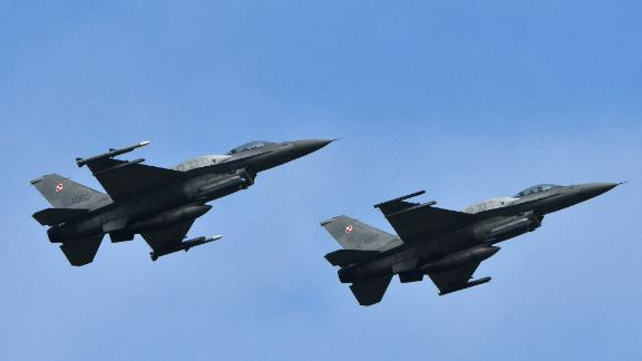 Polish F-16 fighter jets during air force exercises.