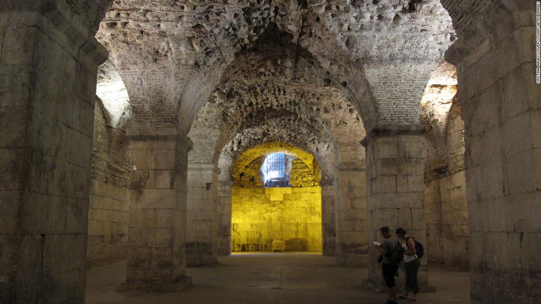 Underground areas, such as the vaulted cellars of the Palace of the Roman Emperor Diocletian in Split, Croatia, would be hard hit by the rising sea levels caused by climate change.