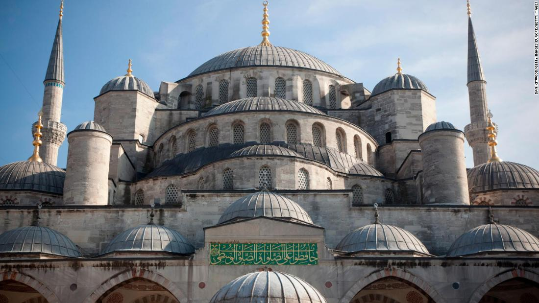 The Blue Mosque in Istanbul, Turkey, is one of 156 World Heritage sites in the coastal Mediterranean endangered by the effects of climate change, according to a study published in Nature Communications.