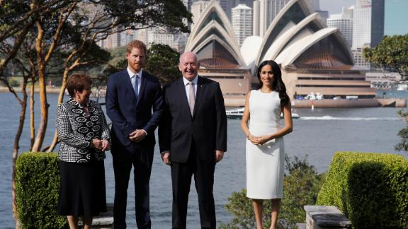 Lady Lynne Cosgrove, Prince Harry, Australia Governor-General Peter Cosgrove and Meghan during a welcome event at Admiralty House on Tuesday in Sydney.