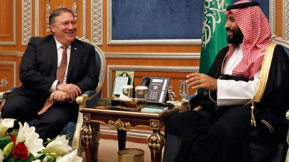 US Secretary of State Mike Pompeo meets with Saudi Crown Prince Mohammed bin Salman in Riyadh on Tuesday.