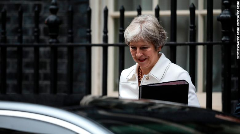 British Prime Minister Theresa May leaves Downing Street on October 15, 2018.