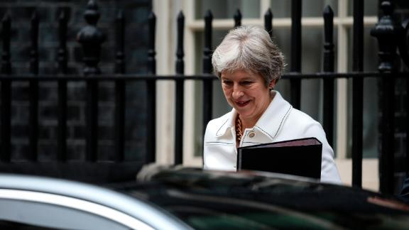 LONDON, ENGLAND - OCTOBER 15: British Prime Minister Theresa May leaves Downing Street on October 15, 2018 in London, England. Theresa May will make an urgent statement to the House of Commons this afternoon as Brexit negotiations have stalled over the real problem of the Northern Ireland Border. She will also meet with members of Sinn Fein who are in town to talk with both her and the Labour leader Jeremy Corbyn pressing them both on their commitments to uphold the Good Friday Agreement. (Photo by Dan Kitwood/Getty Images)