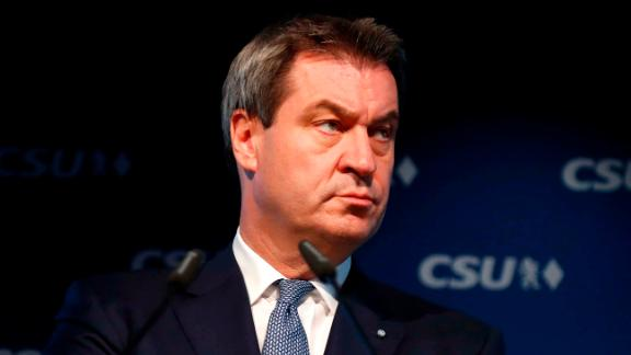 Markus Soeder, head of the CSU in Bavaria, at a news conference Monday.