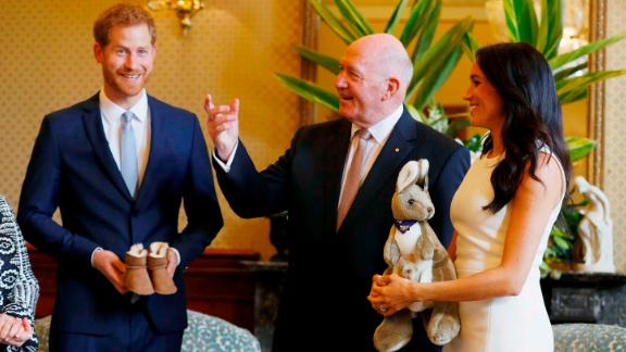 Harry and Meghan receive Australian baby gifts from Governor-General Sir Peter Cosgrove.