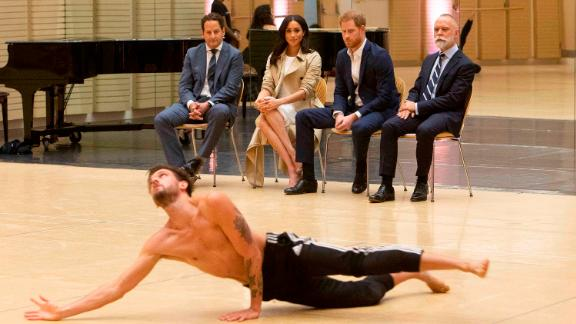 """Harry and Meghan watch the rehearsal of the """"Spirit 2018"""" performance by the Bangarra Dance Theatre company at the Sydney Opera House."""