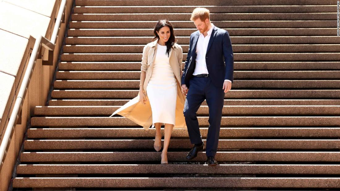 "The couple arrives at the Sydney Opera House for <a href=""https://www.cnn.com/2018/10/15/australia/meghan-harry-australia-intl/index.html"" target=""_blank"">the first day</a> of their Australian tour in October. A day earlier, they announced that they were expecting their first child."