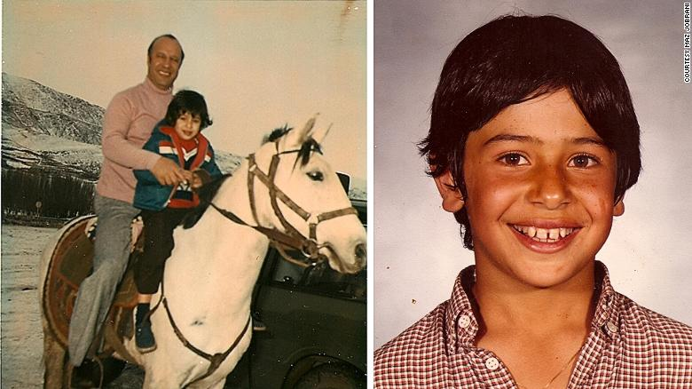 Maz Jobrani with his father in Iran (L) and in the United States at the age of eight (R).