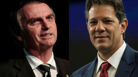 (COMBO) This combination of file pictures created on October 08, 2018 shows Brazilian presidential candidates Jair Bolsonaro (L) (PSL) in Sao Paulo, Brazil, on June 18, 2018 and Fernando Haddad (PT) in Rio de Janeiro, Brazil on October 04, 2018. - A deeply polarized Brazil stood at a political crossroads on october 8, 2018 as the bruising first round of the presidential election left voters with a stark choice in the run-off between far-right firebrand Jair Bolsonaro and leftist Fernando Haddad. Bolsonaro won 46 percent of the vote to Haddad's 29 percent, according to official results. (Photos by Miguel SCHINCARIOL and Daniel RAMALHO / AFP)        (Photo credit should read MIGUEL SCHINCARIOL,DANIEL RAMALHO/AFP/Getty Images)