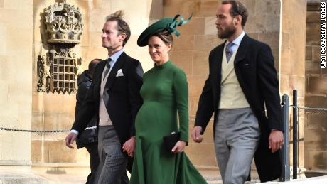 Pippa Middleton attends the wedding of Princess Eugenie of York to Jack Brooksbank alongside husband James Matthews, pictured left, and brother James Middleton, pictured right, on Friday.