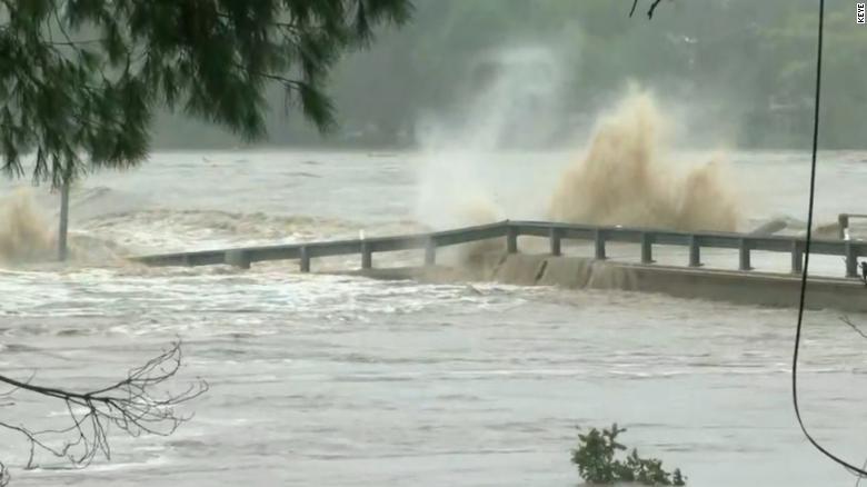 See Texas river destroy bridge