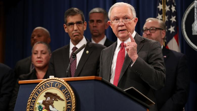 Then-U.S. Attorney General Jeff Sessions speaking at a news conference on October 16, 2018.