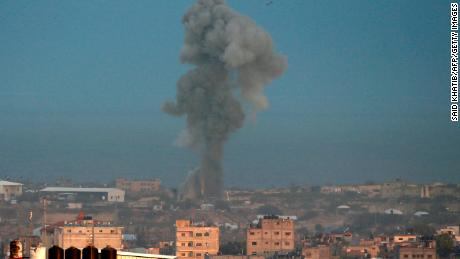 Smoke rises after an Israeli air strike on Rafah, in Gaza, on October 17.