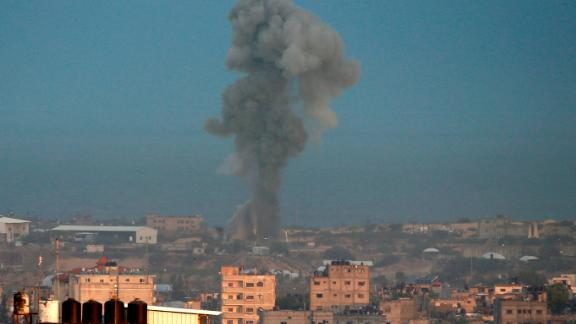 Smoke rises after an Israeli air strike on Rafah, in Gaza, in this file image from October 17.
