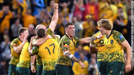 The Wallabies wore an indigenous-themed jersey last October during a victory over the All Blacks.