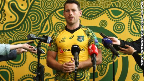 Australia's Bernard Foley dons the new design at a media day for Rugby Australia.