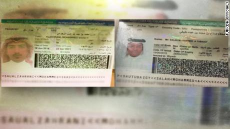 Turkish officials on Tuesday provided CNN with passport scans of Muhammad Saad al-Zahrani, left, and Salah Muhammad al-Tubaiqi.
