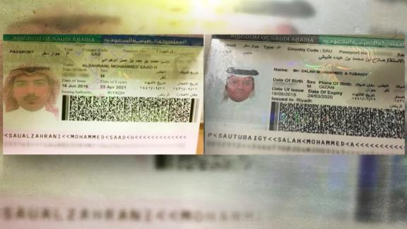 Turkish officials on Tuesday provided CNN with passport scans of Muhammad Saad al-Zahrani, left, and Salah Muhammad al-Tubaiqi.