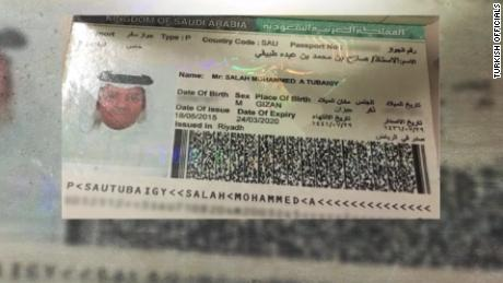 Turkish officials gave CNN this passport of Salah Muhammad al-Tubaiqi (spelled Salah Mohammed A Tubaigy in the document)