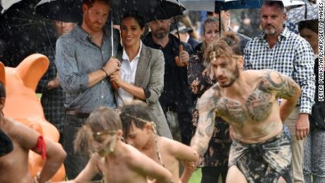 The royal couple watch aboriginal dances at Victoria Park in Dubbo.