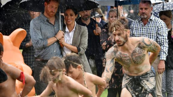 The royal couple watch aboriginal dances at Victoria Park in Dubbo.