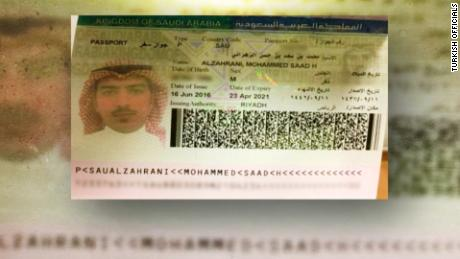 Turkish officials gave CNN this passport of Muhammad Saad al-Zahrani. They used the spelling Mohammed Saad Alzahrani.