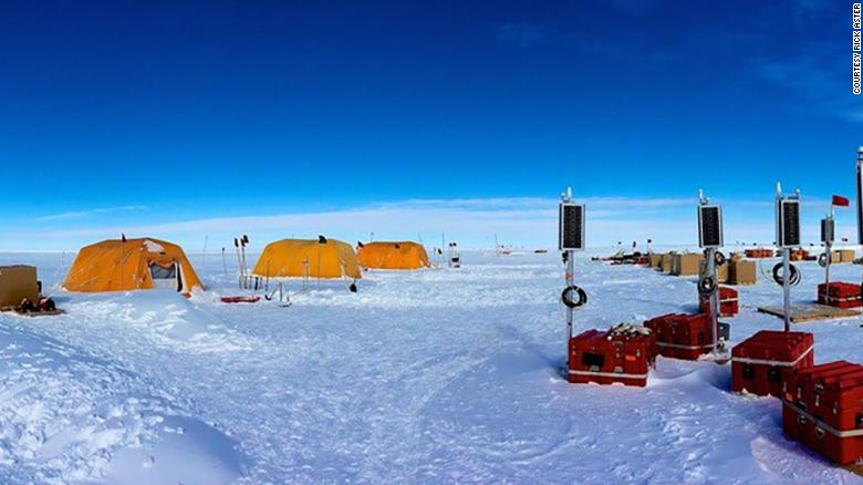 Seismic stations being readied for deployment across the Ross Ice shelf on the international date line.
