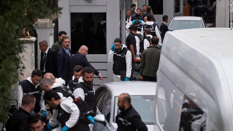 Turkish police officers gather outside the Saudi consul general's residence in Istanbul Wednesday.