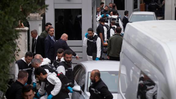 Turkish police officers gather outside the Saudi consul general