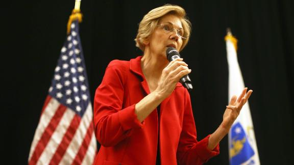 US Senator Elizabeth Warren speaks during a town hall event at Hibernian Hall in the Roxbury neighborhood of Boston on Oct. 13, 2018.