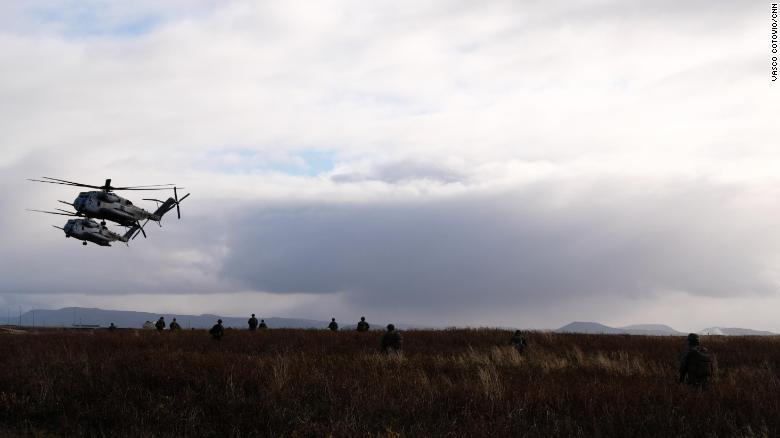 US Marines conduct military drills on Wednesday in Iceland, ahead of the Trident Juncture exercise in Norway, NATO's largest since the end of the Cold War.