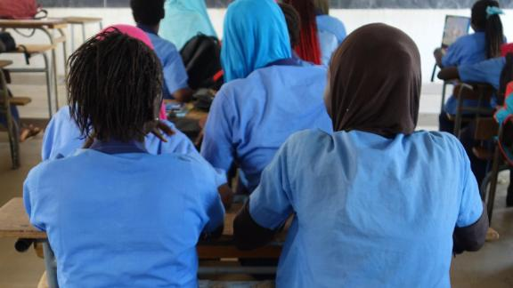 Students in a classroom in a middle secondary school in Sédhiou, southern Senegal in 2017. Photo by Elin Martínez for Human Rights Watch.