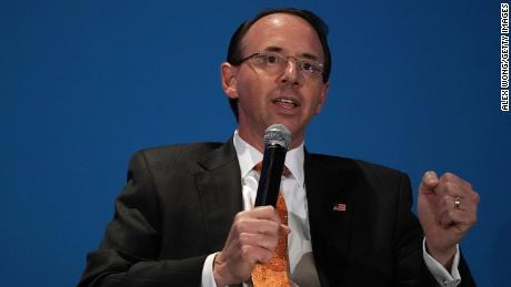 U.S. Deputy Attorney General Rod Rosenstein speaks during the National Conference on Medicaid of America's Health Insurance Plans (AHIP) October 17, 2018 in Washington, DC.
