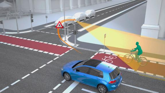Sensors above the traffic light can detect cyclists and pedestrians (illustration provided by VW).