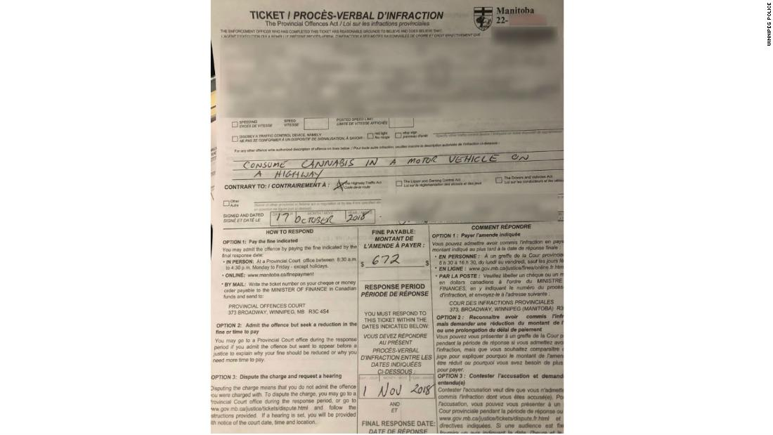 Weed was legal in Canada for a whole hour before someone got a ticket for driving and toking