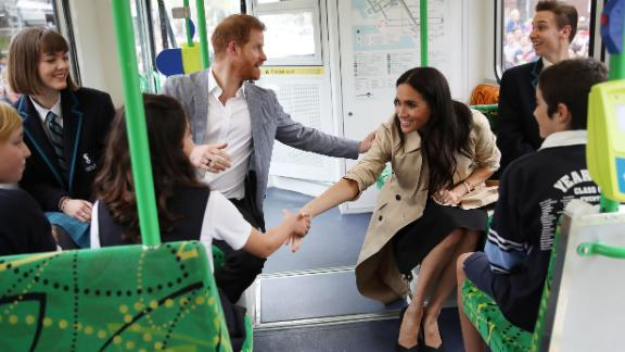 Prince Harry, Duke of Sussex and Meghan, Duchess of Sussex talk to students from Albert Park Primary School, Port Melbourne Primary School and Elwood Secondary College while riding on a Melbourne Tram on Thursday, October 18.