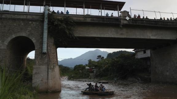 This file photo from August 9, 2018, shows an area where people cross the Suchiate River from Guatemala into Mexico. The illegal crossing point is located just under the international bridge connecting the two countries, circumventing immigration and customs checkpoints.