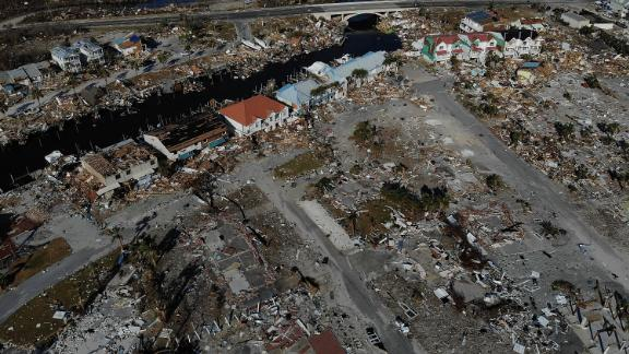 The aftermath of Hurricane Michael in Mexico Beach, Florida.