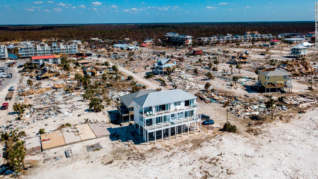 "The home Russell King and his nephew Lebron Lackey built to withstand 250-mph winds <a href=""https://www.cnn.com/2018/10/15/us/mexico-beach-house-hurricane-trnd/index.html"" target=""_blank"">in Mexico Beach</a>, Florida, is seen on Sunday, October 14, after Hurricane Michael. <a href=""https://www.cnn.com/2018/10/10/weather/gallery/hurricane-michael/index.html"" target=""_blank"">In pictures: Hurricane Michael's trail of destruction</a>"