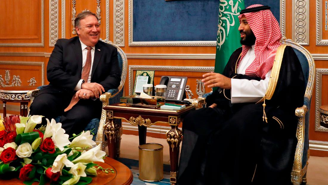"US Secretary of State Mike Pompeo, left, <a href=""https://www.cnn.com/2018/10/16/middleeast/khashoggi-saudi-pompeo-intl/index.html"" target=""_blank"">meets with Saudi Crown Prince Mohammed bin Salman</a> in Riyadh on Tuesday, October 16. Pompeo was seeking answers about the disappearance of journalist Jamal Khashoggi."