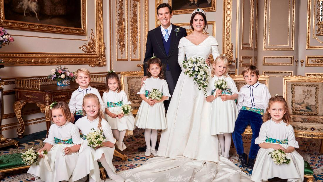 "Britain's Princess Eugenie of York and Jack Brooksbank are photographed in Windsor Castle after<a href=""https://www.cnn.com/style/article/princess-eugenie-jack-brooksbank-royal-wedding-intl/index.html"" target=""_blank""> their wedding</a> at St. George's Chapel on Friday, October 12. Their young attendants are, back row, from left: Prince George, Princess Charlotte, Theodora Williams, Isla Phillips, Louis De Givenchy; front row, from left: Mia Tindall, Savannah Phillips and Maud Windsor."