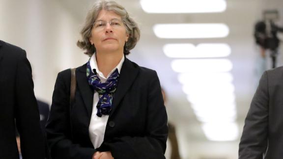 Fusion GPS contractor Nellie Ohr arrives Friday for a closed-door interview with investigators from the House Judiciary and Oversight committees on Capitol Hill in Washington. (Photo by Chip Somodevilla/Getty Images)