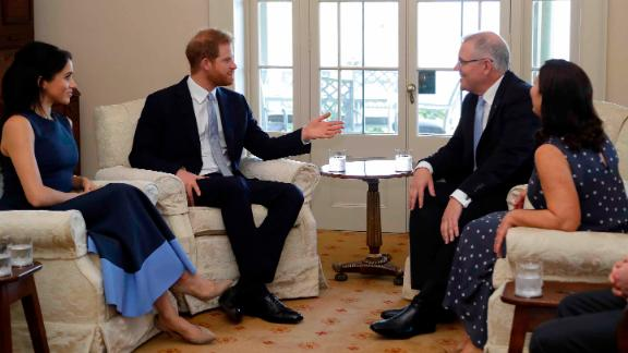 The Duke and Duchess meet Morrison and his wife, Jenny Morrison, at Kirribilli House in Sydney.