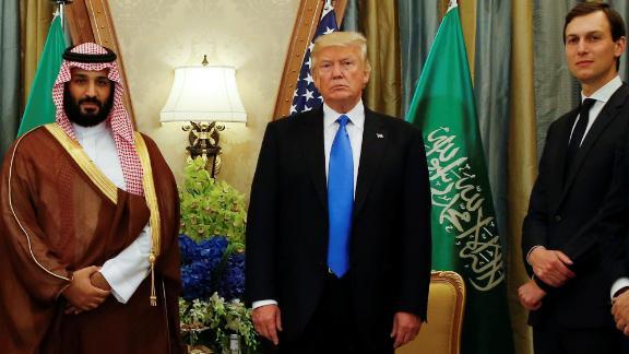 U.S. President Donald Trump, flanked by White House senior advisor Jared Kushner, meets with Saudi Arabia
